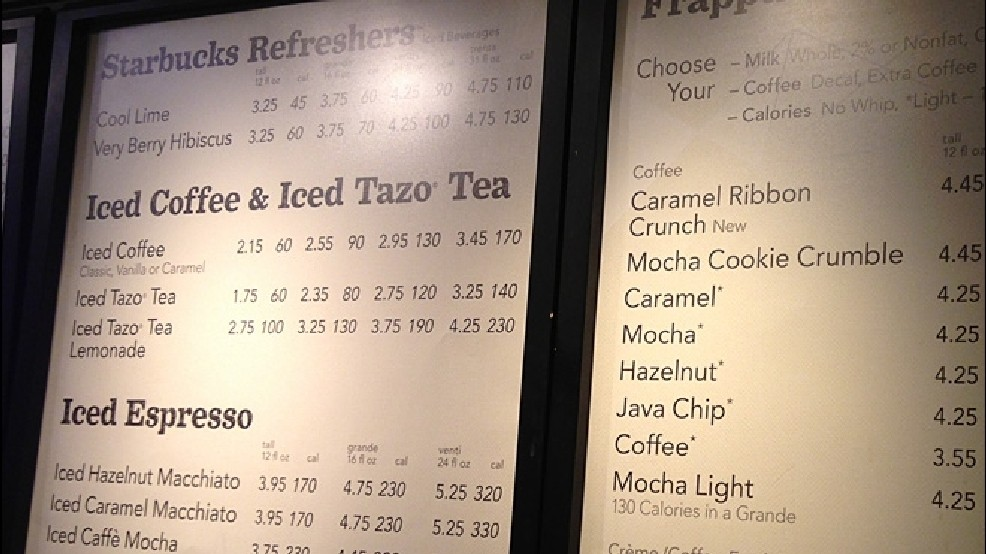 Wake Up Call Starbucks To Post Calorie Counts Nationwide Komo