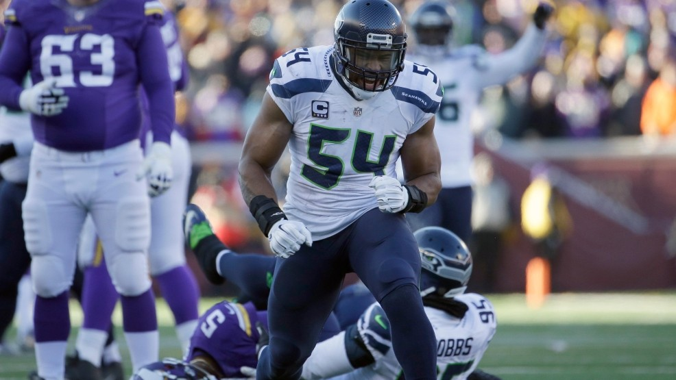 Seattle Seahawks middle linebacker Bobby Wagner (54) reacts after a  quarterback sack during the second half of an NFL wild-card football game  against the ... e61ea41ed