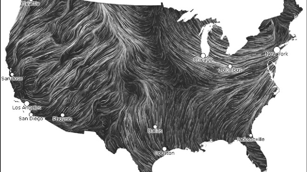 Us Wind Map Current Map shows winds in real time across nation | KOMO