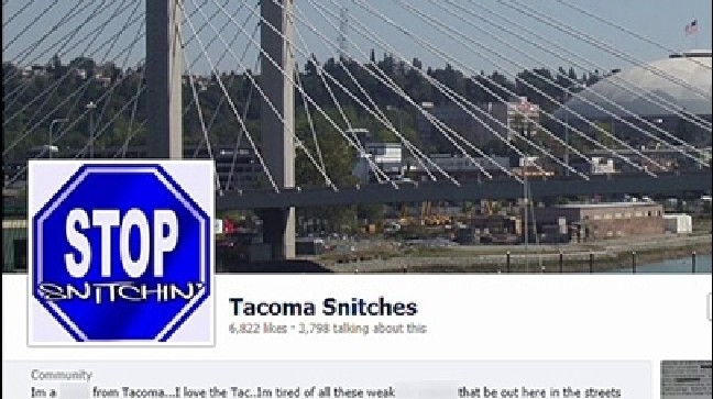New Facebook page warns Tacoma residents to 'stop snitching' | KOMO
