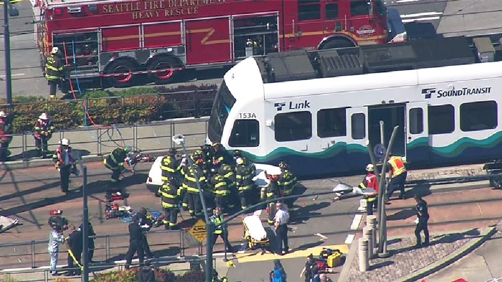 1 hurt as car collides with Link light rail train in S  Seattle | KOMO