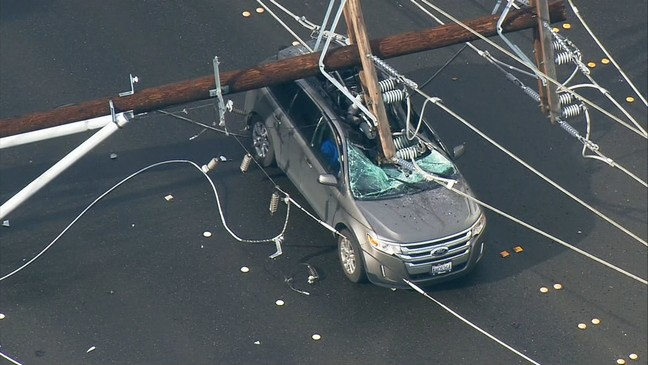 WATCH: Video shows exact moment power pole crashed down on