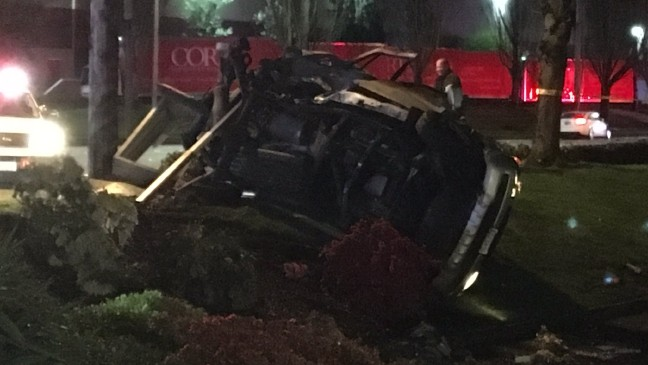 Police: Driver speeding at 100 mph causes fiery near-fatal crash in