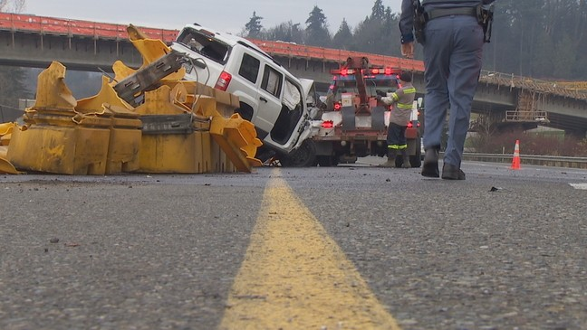 Yellow barrier saves woman's life in Kent rollover crash | KOMO